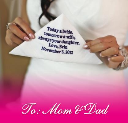 wedding day handkerchief mom and dad